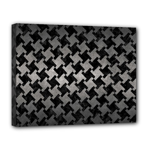Houndstooth2 Black Marble & Gray Metal 1 Canvas 14  X 11