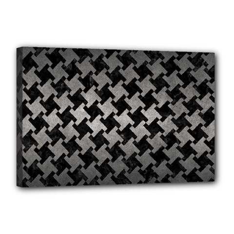 Houndstooth2 Black Marble & Gray Metal 1 Canvas 18  X 12