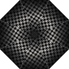 Houndstooth2 Black Marble & Gray Metal 1 Folding Umbrellas