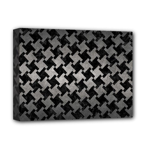 Houndstooth2 Black Marble & Gray Metal 1 Deluxe Canvas 16  X 12