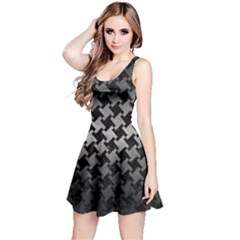Houndstooth2 Black Marble & Gray Metal 1 Reversible Sleeveless Dress