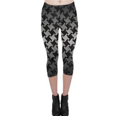 Houndstooth2 Black Marble & Gray Metal 1 Capri Leggings