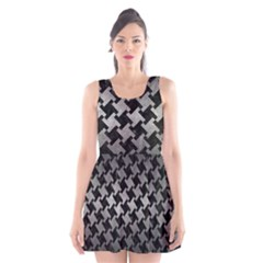 Houndstooth2 Black Marble & Gray Metal 1 Scoop Neck Skater Dress