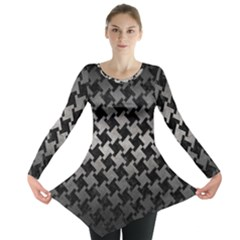 Houndstooth2 Black Marble & Gray Metal 1 Long Sleeve Tunic