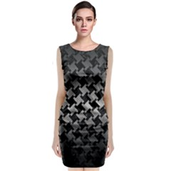 Houndstooth2 Black Marble & Gray Metal 1 Classic Sleeveless Midi Dress