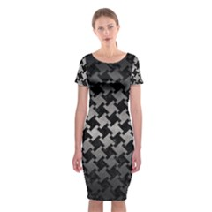 Houndstooth2 Black Marble & Gray Metal 1 Classic Short Sleeve Midi Dress