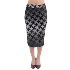 Houndstooth2 Black Marble & Gray Metal 1 Midi Pencil Skirt