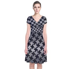 Houndstooth2 Black Marble & Gray Metal 1 Short Sleeve Front Wrap Dress