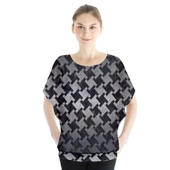 Houndstooth2 Black Marble & Gray Metal 1 Blouse