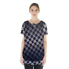 Houndstooth2 Black Marble & Gray Metal 1 Skirt Hem Sports Top