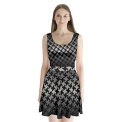 Houndstooth2 Black Marble & Gray Metal 1 Split Back Mini Dress