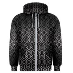 Hexagon1 Black Marble & Gray Metal 1 Men s Zipper Hoodie