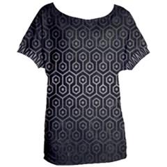 Hexagon1 Black Marble & Gray Metal 1 Women s Oversized Tee