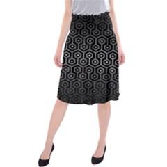 Hexagon1 Black Marble & Gray Metal 1 Midi Beach Skirt