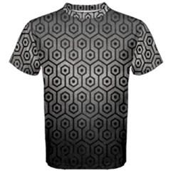 Hexagon1 Black Marble & Gray Metal 1 (r) Men s Cotton Tee