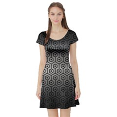 Hexagon1 Black Marble & Gray Metal 1 (r) Short Sleeve Skater Dress