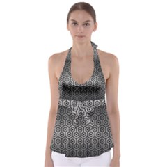 Hexagon1 Black Marble & Gray Metal 1 (r) Babydoll Tankini Top