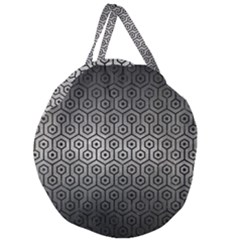 Hexagon1 Black Marble & Gray Metal 1 (r) Giant Round Zipper Tote
