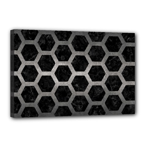 Hexagon2 Black Marble & Gray Metal 1 Canvas 18  X 12