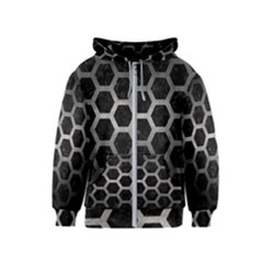 Hexagon2 Black Marble & Gray Metal 1 Kids  Zipper Hoodie