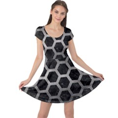 Hexagon2 Black Marble & Gray Metal 1 Cap Sleeve Dress