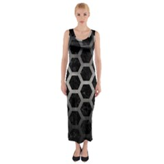 Hexagon2 Black Marble & Gray Metal 1 Fitted Maxi Dress