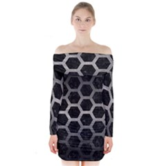 Hexagon2 Black Marble & Gray Metal 1 Long Sleeve Off Shoulder Dress