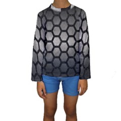 Hexagon2 Black Marble & Gray Metal 1 (r) Kids  Long Sleeve Swimwear