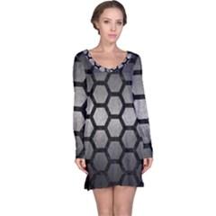 Hexagon2 Black Marble & Gray Metal 1 (r) Long Sleeve Nightdress