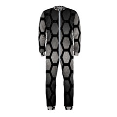 Hexagon2 Black Marble & Gray Metal 1 (r) Onepiece Jumpsuit (kids)