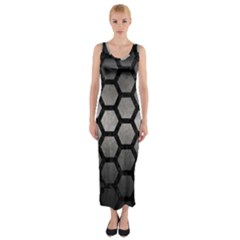 Hexagon2 Black Marble & Gray Metal 1 (r) Fitted Maxi Dress