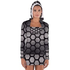 Hexagon2 Black Marble & Gray Metal 1 (r) Long Sleeve Hooded T Shirt