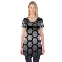 Hexagon2 Black Marble & Gray Metal 1 (r) Short Sleeve Tunic