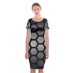 Hexagon2 Black Marble & Gray Metal 1 (r) Classic Short Sleeve Midi Dress