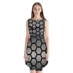 Hexagon2 Black Marble & Gray Metal 1 (r) Sleeveless Chiffon Dress