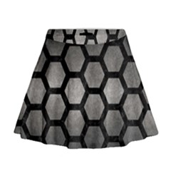 Hexagon2 Black Marble & Gray Metal 1 (r) Mini Flare Skirt