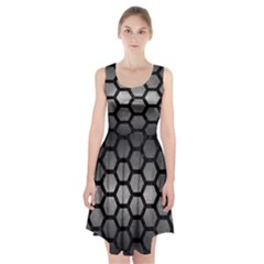 Hexagon2 Black Marble & Gray Metal 1 (r) Racerback Midi Dress