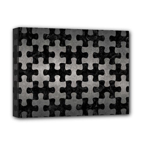 Puzzle1 Black Marble & Gray Metal 1 Deluxe Canvas 16  X 12
