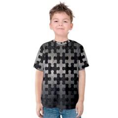 Puzzle1 Black Marble & Gray Metal 1 Kids  Cotton Tee