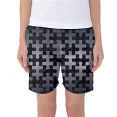 Puzzle1 Black Marble & Gray Metal 1 Women s Basketball Shorts