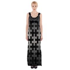 Puzzle1 Black Marble & Gray Metal 1 Maxi Thigh Split Dress