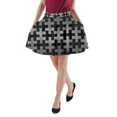 Puzzle1 Black Marble & Gray Metal 1 A Line Pocket Skirt