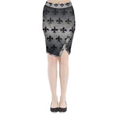 Royal1 Black Marble & Gray Metal 1 Midi Wrap Pencil Skirt