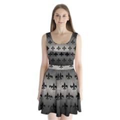 Royal1 Black Marble & Gray Metal 1 Split Back Mini Dress