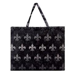 Royal1 Black Marble & Gray Metal 1 (r) Zipper Large Tote Bag