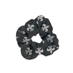 Royal1 Black Marble & Gray Metal 1 (r) Velvet Scrunchie