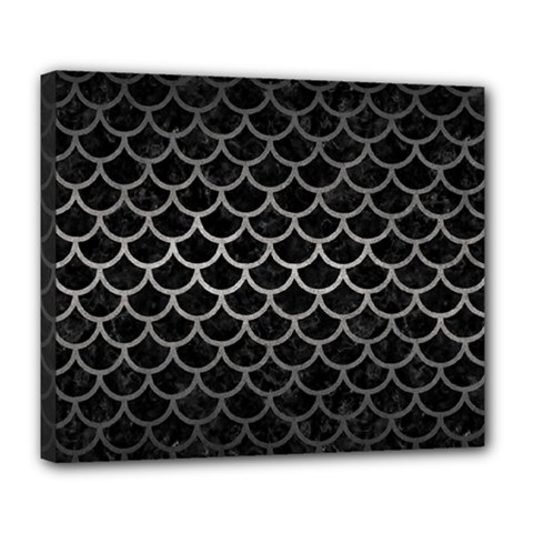Scales1 Black Marble & Gray Metal 1 Deluxe Canvas 24  X 20