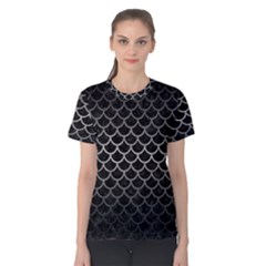 Scales1 Black Marble & Gray Metal 1 Women s Cotton Tee