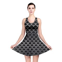 Scales1 Black Marble & Gray Metal 1 Reversible Skater Dress