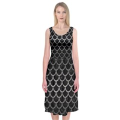 Scales1 Black Marble & Gray Metal 1 Midi Sleeveless Dress